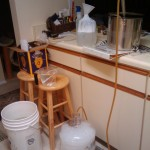 Racking the wort into the fermenter.
